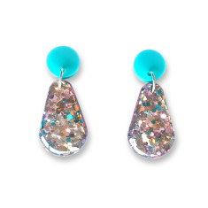 Glitter resin drop earrings - lilac purple, aqua and gold