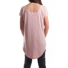 Cap Sleeve V Back Tee in Rose