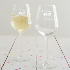 Personalised Groom Wine Glass
