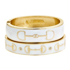 Gold Cup Equestrian Bracelet In White