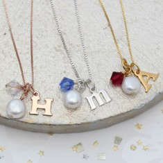Personalised Letter Charm and Crystal Birthstone Necklace