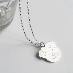 Personalised Sterling Silver Fido Dog Face Necklace