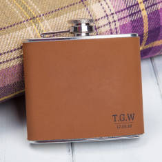 Brown Faux Leather Initials Personalised Hip Flask