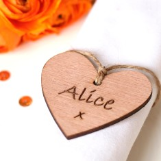 In your own words wooden hearts wedding favours