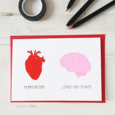 Funny heart brain anniversary card