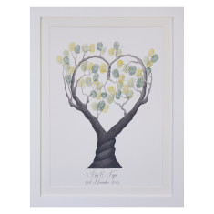Framed heart black and white fingerprint guestbook