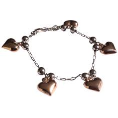Sterling silver 2 tone heart charm bracelet