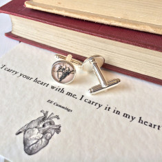 I carry your heart anatomical heart cufflinks