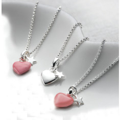Heart and Star Necklace (pink or silver)