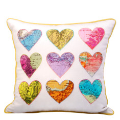Map hearts cushion