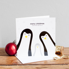 Build your own penguin family Christmas card