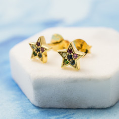 Over the rainbow star studs earrings