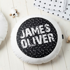 Personalised Kids' Monochrome Arrows Round Cushion