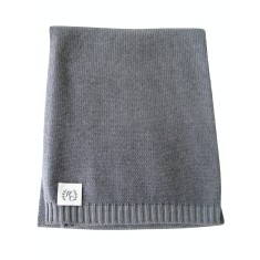 Cashmere plain knit baby blanket in earl grey
