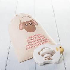 Lamb Wooden Teething Ring Toy In Personalised Bag