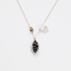Elvi hematite tear necklace