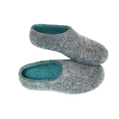 Women's felt merino slippers in grey & mint (9 contrast colour rubber soles)