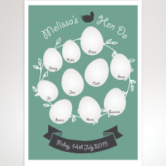 Personalised hen party egg guestbook print