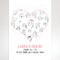 Personalised hen party fingerprint guestbook print