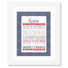 Her favourite things framed personalised print (various colours)