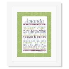 Her favourite things personalised print in greens & blues