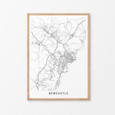 Newcastle minimalist map print