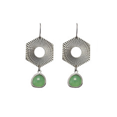 Hexagon with bead earrings