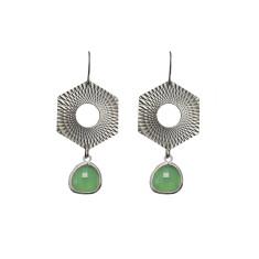 Hexagon with bead earrings
