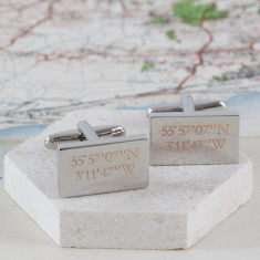 Personalised Engraved Location Cufflinks