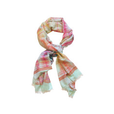 Dream soft teal/rose cotton scarf