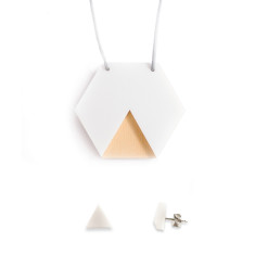 GEO necklace & earrings gift set - hexagon white and ply