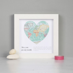 You are my world map heart valentine's print