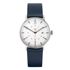 Silver 39mm watch with sea blue leather band