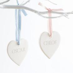 Engraved Ceramic Heart Decoration