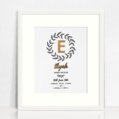 Personalised Botanical Wreath Bamboo Birth Print