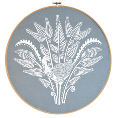 Screen printed lyrebird II framed in embroidery hoop (grey blue)