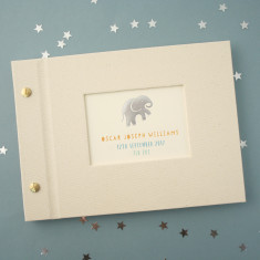 Personalised Silver Elephant Mini Baby Photo Album