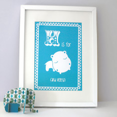 Personalised H is for hippo child's letter print
