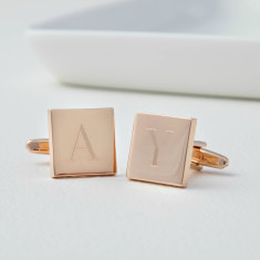 Monogram Personalised Rose Gold Initial Tile Cufflinks