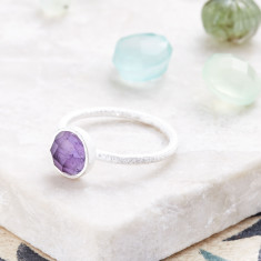 Cupcake Smaller Ring In Silver With Amethyst