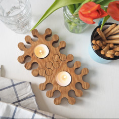 Solid Oak Jigsaw Tea Light Candle Holders