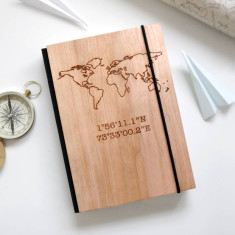 Personalised Wooden Map & Coordinates Travel Journal