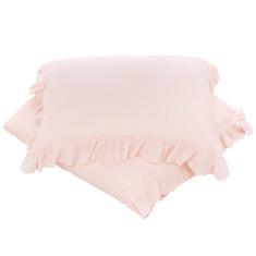 Pink linen ruffle doona cover set
