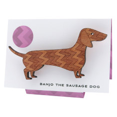 Banjo the sausage dog chevron-patterned wooden brooch
