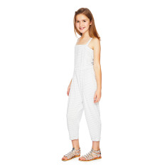 Jumpsuit in white and grey stripes