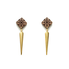 Square & brass spike post earring