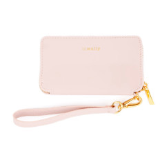 hiwally iPhone wallet in beige/pink with coral lining