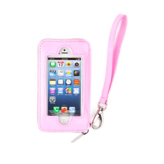 hiwally iPhone wallet in pink with a silver lining
