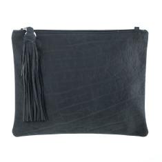 Jem in Black Buffalo Leather Clutch