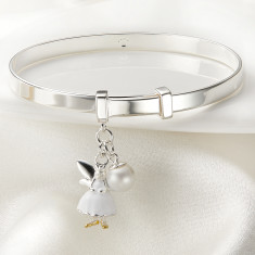 Personalised Fairy Christening Baby Bangle (Pink, White or Gold Vermeil)